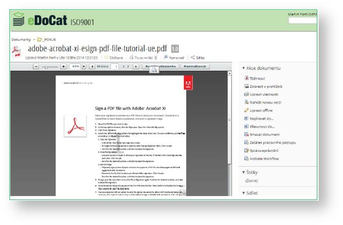 eDoCat | Pokud kdekoliv v knihovně dokumentu, na nástěnkách, nebo v emailových odkazech kliknete na název dokumentu, zobrazí se karta dokumentu. V tomto místě je možné provádět veškeré operace s dokumentem, ke kterým máte příslušná oprávnění.