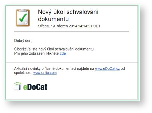 eDoCat | Emailová notifikace - informace o novém úkolu