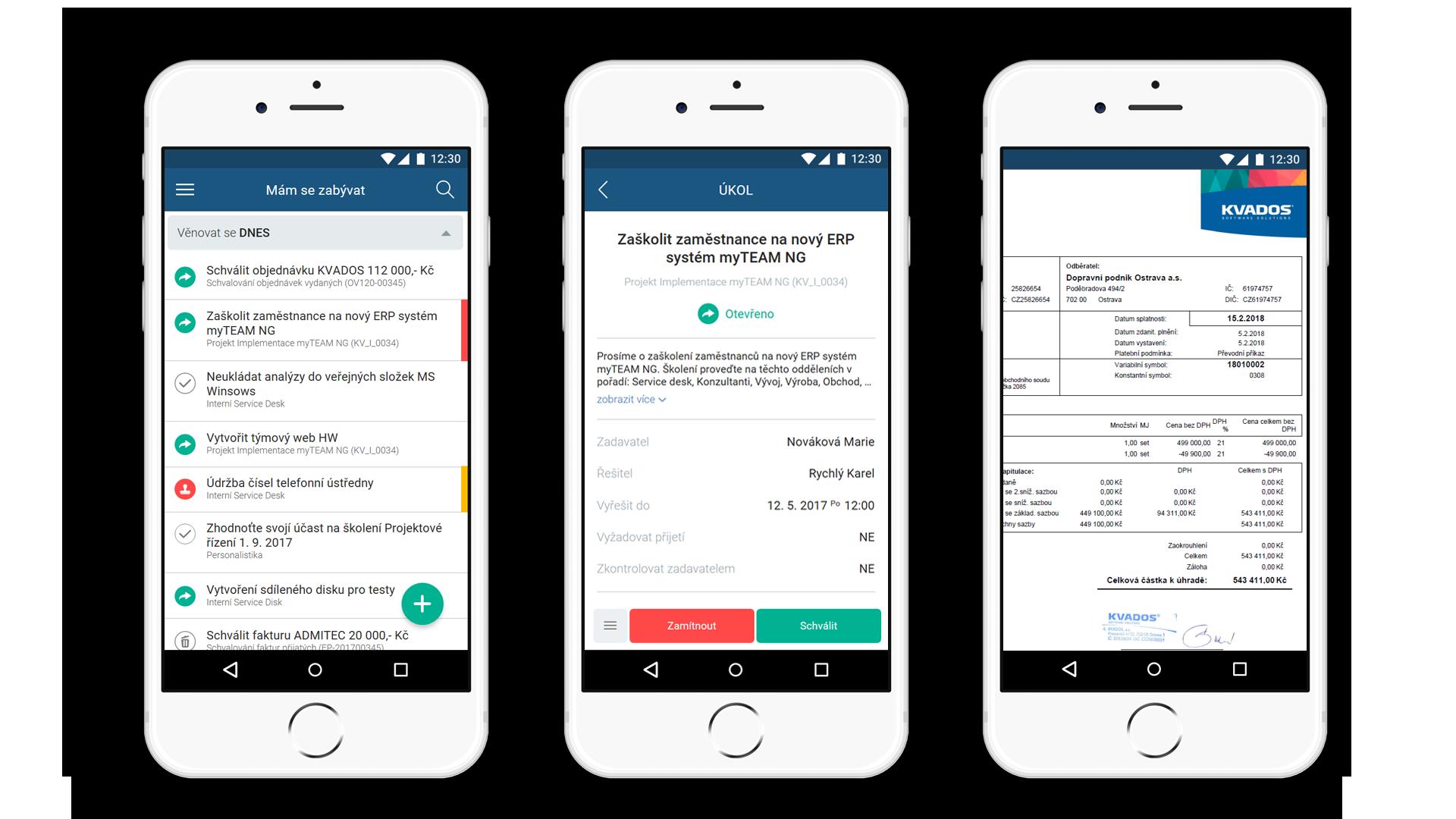 myTEAM | Přehled úkolů a detail na mobilním zařízení včetně schvalování.