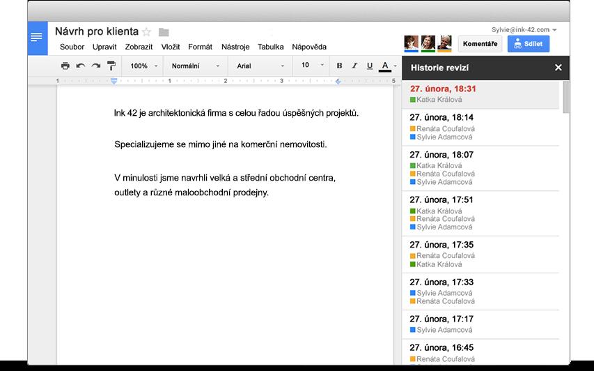 G Suite | Neomezená historie provedených změn.Jednoduše můžete vyhledávat změny, které byly ve vašich dokumentech provedeny, a kterékoli z nich vrátit zpět. Předchozí verze jsou uloženy natrvalo a nezapočítávají se do využitého místa na Disku.